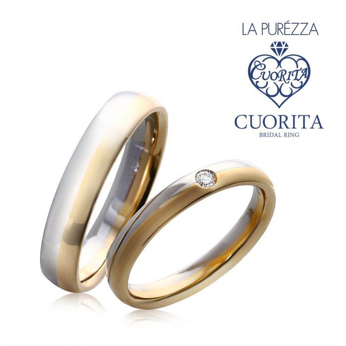 鏡面状に仕上げられた甲丸が艶やかに煌く、幅広ストレートタイプの結婚指輪です
