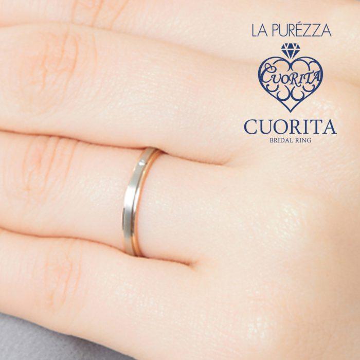 つや消し面のプラチナと、フチを彩るゴールドのコントラストが美しい結婚指輪です