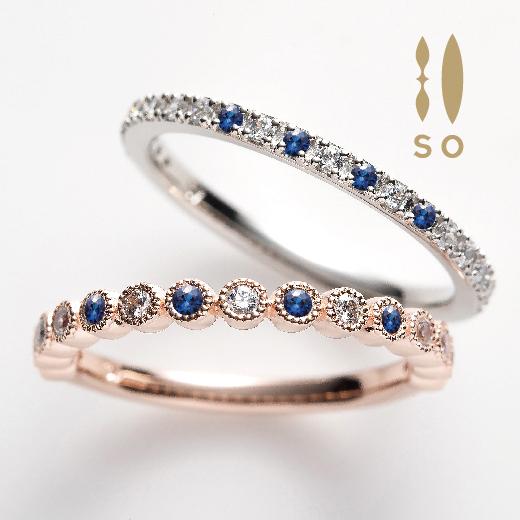 サファイアとダイヤモンドのハーフエタニティリング